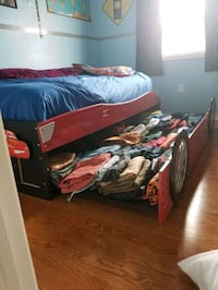 black and red car theme wooden bed frame and mattr Brampton, L6X 0K9