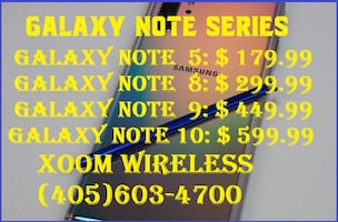All Galaxy Note series are on sale here @ XOOM WIRELESS.Smart phones starts @ $59.99 right here at XOOM WIRELESS, Huge sale on all smart phones. XOOM WIRELESS has the largest selection of smart phones, tablets, accessories and much more. Authorized dealer