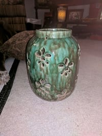 green and teal ceramic vase Independence