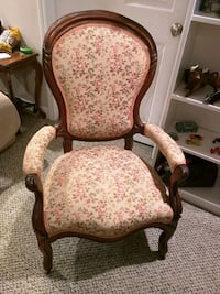 brown wooden framed beige floral padded armchair Canton, 48188