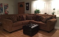 brown fabric sectional sofa with throw pillows Orange, 92865