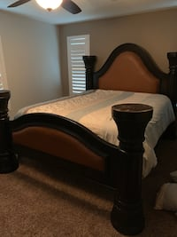 brown wooden bed frame with white mattress Bakersfield, 93313