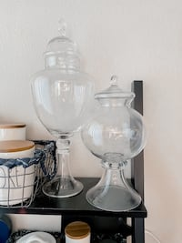 """Apothecary Jars approx 12"""" & 19"""" tall"""
