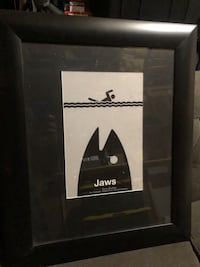 Unique jaws movie poster with frame