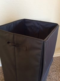 Smooth dark grey linen basket 1148 mi