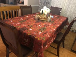 Dining table and 4 chairs with protective glass