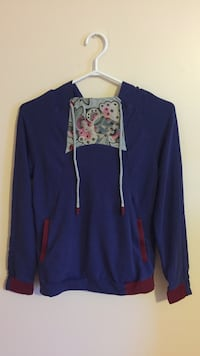 blue and red pull over hoodie