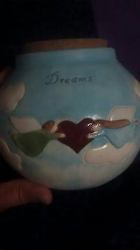 blue, white and red with dreams print ceramic jar Hamilton, L8G 2T9