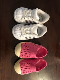 Addidas sneakers and native shoes for baby size 4 Mississauga, L5N