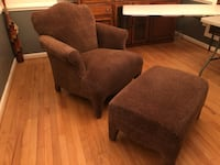 Chair and ottoman , brown and black upholstery leopard color West River, 20778
