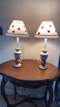 two white-and-brown table lamps Las Vegas, 89149