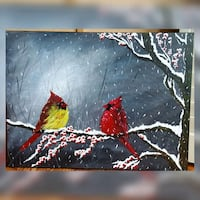 24X18 inches cardinals acrylic painting  557 km