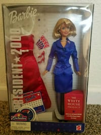 blue and red dressed Barbie doll