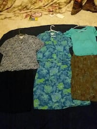 three teal and gray short-sleeve shirts and two brown and green floral skirts Muldrow, 74948