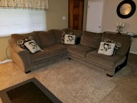 gray suede sectional couch with throw pillows Cranberry Township, 16066