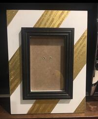 Gold striped picture frame