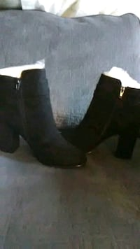 black suede chunky heeled boots Norfolk
