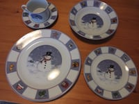 4 sets of snowman pattern dining wares Burnaby