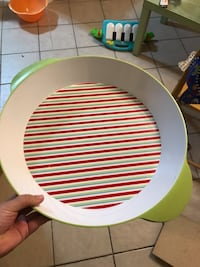 white and green striped ceramic plate Centreville, 20121
