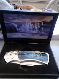 blue and white handle stainless steel pocket knife Pinon Hills, 92372
