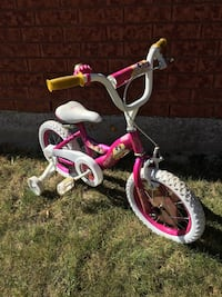 white and pink Disney Princess trike