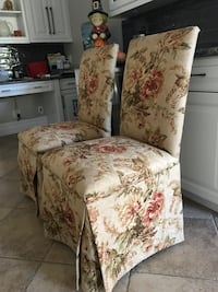 Two custom made floral parson chairs  Garden City, 11530