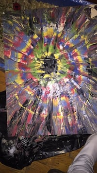 black, yellow, and blue abstract painting Milton