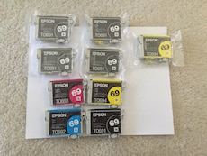 9 EPSON Ink Cartridges with printer