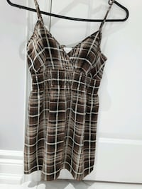 BROWN/TAN PLAID V NECK STRAPPY TOP XS