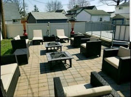 Large area lawn furniture with fire pits