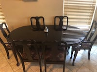 Rectangular brown wooden table with four chairs dining set Las Vegas, 89115