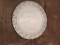 White silver lace premium plastic  lunch plate.  Disposable without the disposable look   East Windsor, 08520