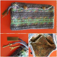 Crochet Clutch Bag - lined, charms, pockets Airdrie, T4B 0Y3