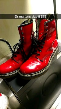pair of red leather boots Denver