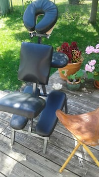 black leather portable massage table