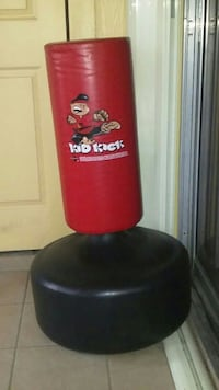 black and red Kid Kick free standing heavy bag