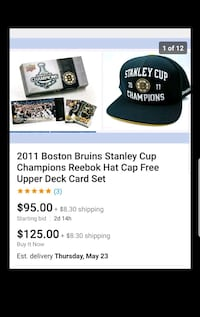 2011 Boston Bruins Stanley Cup Champions Hat Cards Northbridge, 01534
