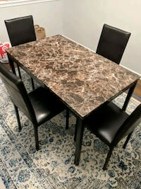 Faux marble dining table with 4 chairs