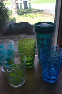 Blue and green plastic cups