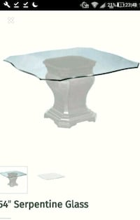 Brand new beautifully curved glass table 54' by 54' top