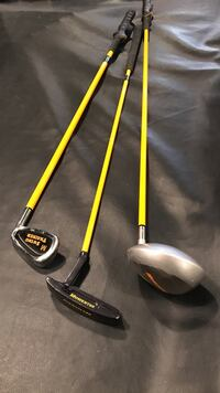 Yellow-and-gray golf clubs