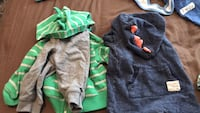 two green and blue pullover hoodies