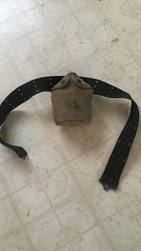 1943 M D U.S. water canteen with belt Haverhill, 01832