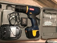 black and red Bosch cordless hand drill 15 km