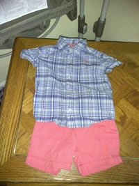 toddler's blue and white polo shirt and pink short
