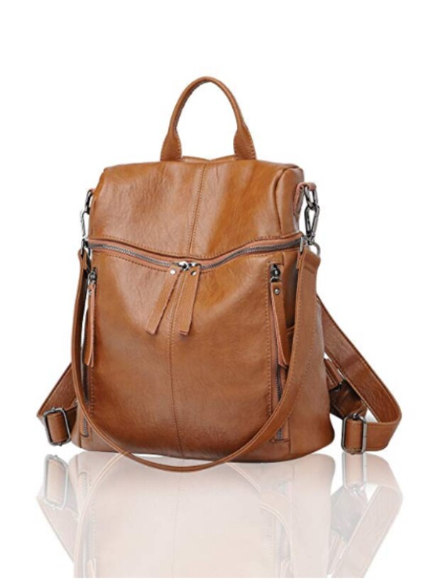 a4ce06c328d Brown faux Leather Backpack Purse