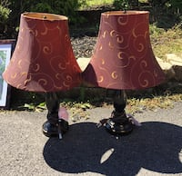 Pair of black lamps with burgundy & gold shades Bangor, 18013