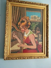 woman in red dress painting with brown wooden frame Montréal, H1Z 2T5