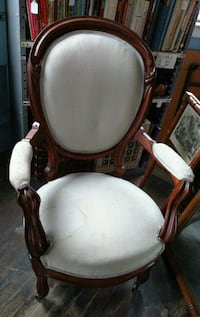 brown wooden framed white padded armchair Columbia, 06237