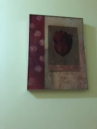 Two brown wooden framed painting of red flowers Niles, 60714